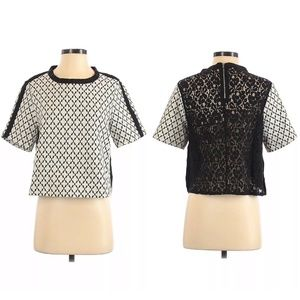Piperlime Beige Black Lace Back Boxy Top